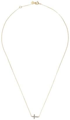 Feidt Paris 9kt yellow gold Antik sapphire cross pendant necklace