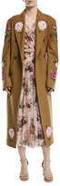 Dolce & Gabbana Rose-Embroidered Double-Breasted Wool-Alpaca Coat, Camel