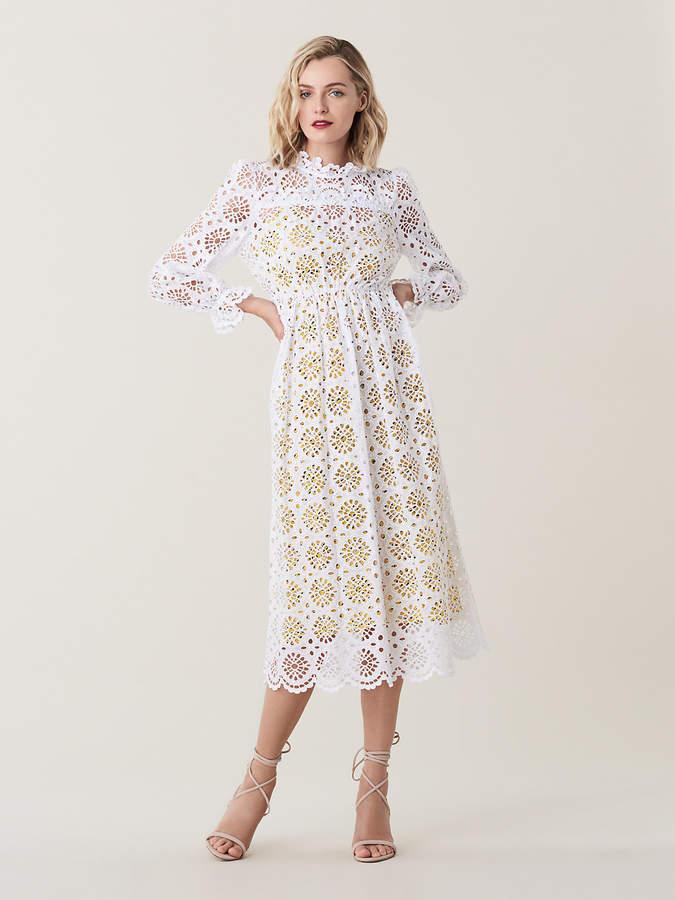 Diane von Furstenberg Leandra Cotton Eyelet Midi Dress