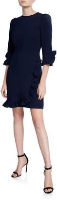 Shoshanna Marina Stretch Crepe Ruffle-Trim Sheath Dress