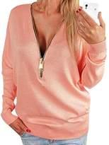 Fashion Story Women Autumn Deep V Zipper Long Batwing Sleeve Blouse Pullover Hoody Shirt Tops