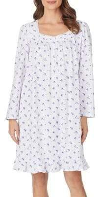 Eileen West Floral Lace-Trim Cotton Jersey Short Nightgown