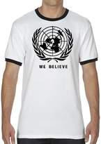 """Unique Lines """"We Believe UN Flat Earth Map"""" 5.6 oz. Moisture-Wicking Ringer T-shirt"""