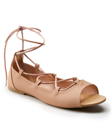 Wet Seal Nude Lace-Up Laney Flat