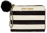 Betsey Johnson Sequin Stripe Faux Leather Pouch