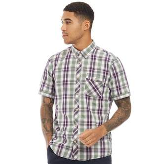 Tom Tailor Mens Short Sleeve Check Shirt Olive Blue Colourful Check