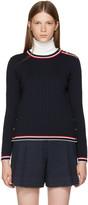 Thom Browne Navy Rib Stitch Crewneck Pullover