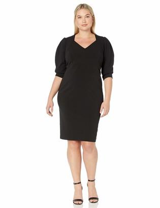Calvin Klein Women's Plus Size Three Quarter Sleeve Sheath with Open V Neckline