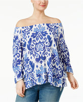 INC International Concepts Plus Size Printed Off-The-Shoulder Top, Created for Macy's