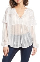 J.o.a. Sheer Split Neck Top