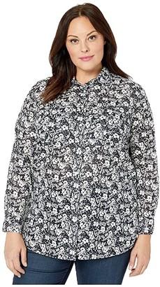 Lauren Ralph Lauren Plus Size Patch-Pocket Cotton Shirt (Lauren Navy/Cream) Women's Clothing