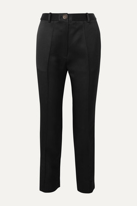 Peter Do Cropped Silk-satin Straight-leg Pants - Black