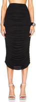 Norma Kamali Shirred Midi Poly Skirt