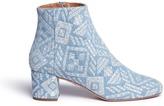 Aquazzura 'Brooklyn' geometric embroidered denim boots