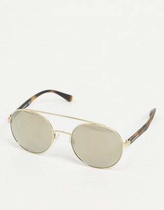 Emporio Armani aviator sunglasses in light brown with dark mirror lens
