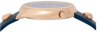 Versace Blue and Gold Detail Dial Blue Leather Strap Ladies Watch