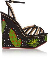 Charlotte Olympia Desert Night Meredith embellished linen wedge sandals