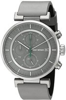 Issey Miyake Men's 'W' Quartz Stainless Steel and Grey Leather Casual Watch (Model: NY0Y002Y)