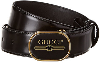 Gucci Print Buckle Leather Belt