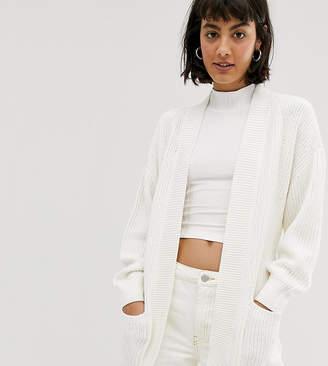 Monki knitted tie waist longline cardigan in white