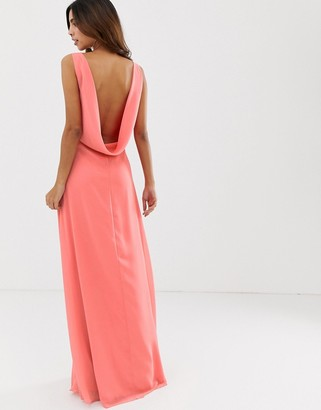 Maids To Measure Maids to Measure bridesmaid maxi dress with draped low back-Pink