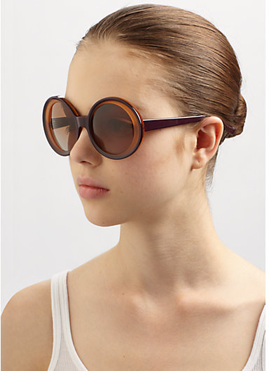 Marni Oversized Two-Tone Round Plastic Sunglasses
