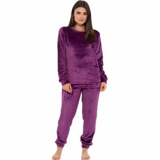 Style It Up Womens Ladies Animal Print Warm Pyjama Cosy Soft Fleece Nightwear Loungewear PJ (Plum/Purple Pjs Large)