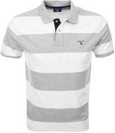 Gant Contrast Collar Barstripe Polo T Shirt Grey