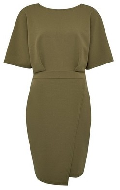 Dorothy Perkins Womens Khaki Kimono Sleeve Bodycon Dress