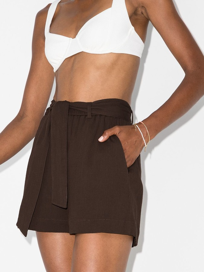 Thumbnail for your product : Peony Swimwear Belted Organic Cotton Shorts