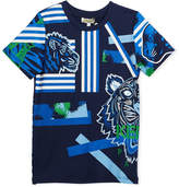 Kenzo Multi-Icon Tiger Striped T-Shirt, Navy, Size 2-6