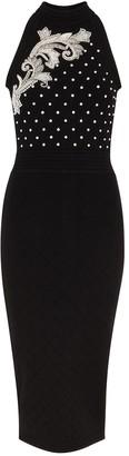 Balmain Black embellished stretch-knit midi dress