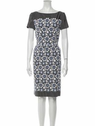Prada Floral Print Knee-Length Dress Grey