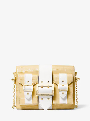 Michael Kors Hayden Medium Crocodile Embossed Leather Messenger Bag