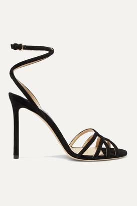 Jimmy Choo Mimi 100 Suede Sandals - Black