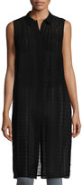 Laundry by Shelli Segal Sleeveless Button-Front Long Tunic, Black