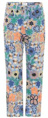 Acne Studios Tyna embroidered high-waisted jeans