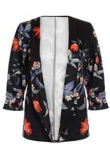 Quiz Black and Orange Floral Print Ruched Sleeve Jacket