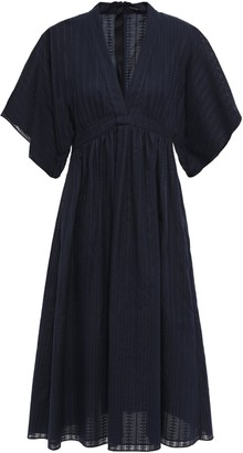 Adam Lippes Gathered Cotton And Silk-blend Jacquard Dress
