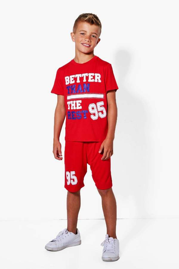 boohoo Boys Better Than The Rest Tee And Short Set red