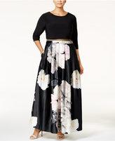 Betsy & Adam Plus Size Illusion 2-Pc. Floral-Print Gown