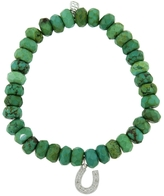 Sydney Evan Diamond Horseshoe On Green Turquoise Beaded Bracelet