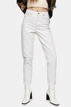 Topshop Womens Ecru Mom Tapered Jeans - Off White