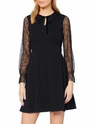 Dorothy Perkins Women's Black Lace Detail Fit and Flare Dress 10
