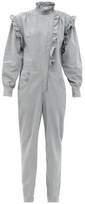 Etoile Isabel Marant Gayle Ruffled Denim Jumpsuit - Light Grey