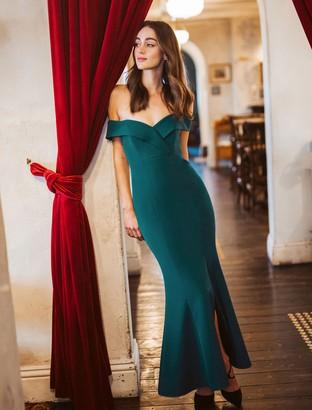 Forever New Sara Off Shoulder Gown - Deep Ivy - 6