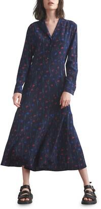 Tulip Print Long Sleeve Silk Shirtdress