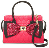 Betsey Johnson Quilted Heart Sequin Bow Shoulder Bag