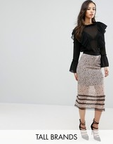 Fashion Union Tall Floral Printed Midi Skirt With Lace Trim