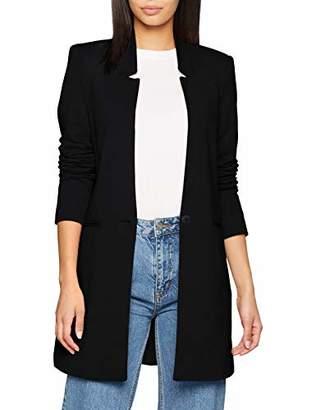 Vero Moda Women's Vmjune W/l Long Blazer Dnm Noos Plain Trenchcoat Long Sleeve Coat, (Manufacturer Size: )